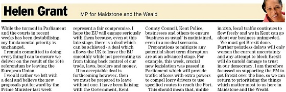 Kent Messenger Column 10-10-19 - we must get Brexit done says Helen Grant MP
