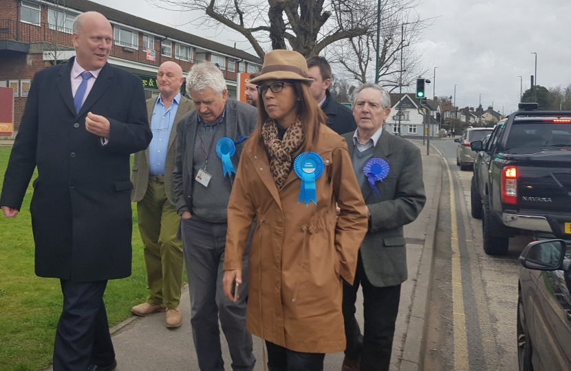 Transport Secretary Chris Grayling visits Helen Grant MP at Loose Road, Maidstone