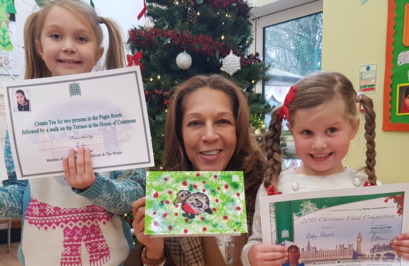 Left to Right: Overall winner Daisy Davies (7), Helen Grant MP, and highly commended entrant Ruby Pearce aged 4, both of Sissinghurst C of E Primary.