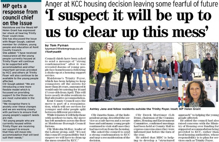 Kent Messenger 07-03-19 Trinity Foyer housing issue