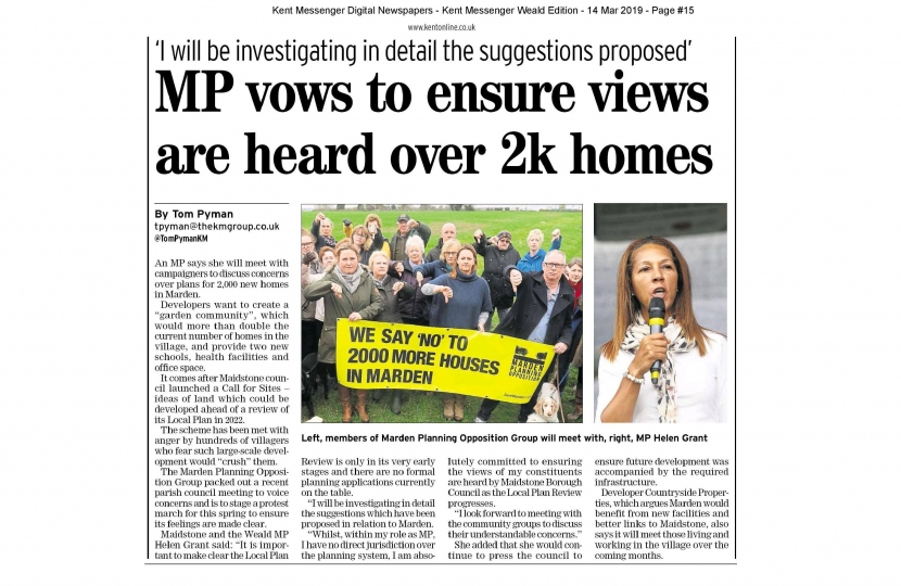 Marden village 2000 new homes scare