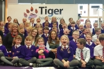 Helen Grant with year 3 pupils and teachers of Tiger Primary School