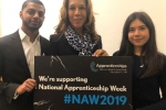 Helen with apprentices at the Parliamentary launch of National Apprenticeship Week 2019.